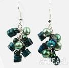 Wholesale Green Style Green Freshwater Pearl and Phoenix Stone Earrings