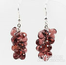 New Design Purple Red Color Drop Shape Crystal Cluster Earrings