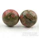 Wholesale Classic and Simple Design Round Green Piebald Stone Studs ( Metal Needle )