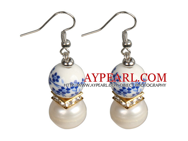 Elegant Vintage Natural White Freshwater Pearl Blue & White Porcelain Beads Dangle Earrings