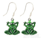 Lovely Green Frog Shape Colored Glaze Dangle Earrings With Fish Hook