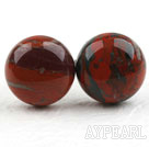 Wholesale Classic and Simple Design Round Red Jasper Studs ( Metal Needle )