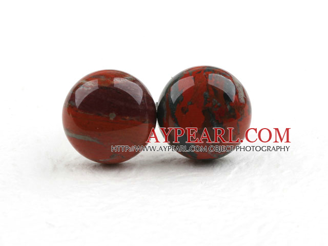 Classic and Simple Design Round Red Jasper Studs ( Metal Needle )