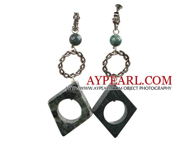 Picture Jasper Dangle Clip Earrings