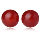 Klassisk og enkel design Round Red Carnelian Studs (Metal Needle)