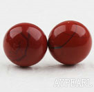 Klassisk og enkel design Round Red Stone Studs (Metal Needle)