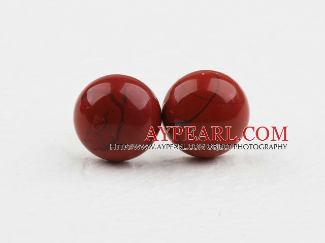 Classic and Simple Design Round Red Stone Studs ( Metal Needle )