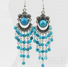 Wholesale Dangle and Vintage Style Blue Turquoise Tassel Charm Earrings