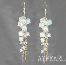 Wholesale Dangle Style Whit Freshwater Pearl and Clear Crystal and Opal Crystal Earrings