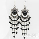 Fashion Vintage Long Style Round Black Agate Loop Dangle Earrings