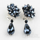 Wholesale Elegant Style Black Crystal Clip Earrings