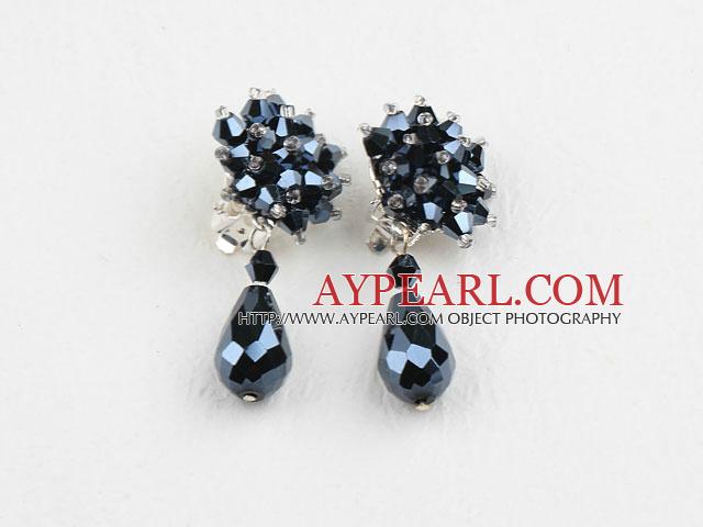Elegant Clsuter Style Black Crystal Drop Clip-On Studes Earrings