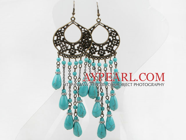 Vintage Style Drop Shape Turquoise and Rhinestone Spacer Earrings