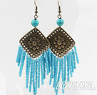 Vintage Style Glass Beads and Turquoise Earrings