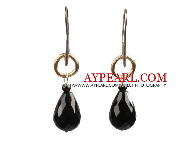 Simple Fashion Style Faceted Drop Shape Black Agate Golden Loop Dangle Earrings