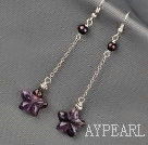 Dangle Style Starfish Shape Amethyst and Pearl Long Earrings