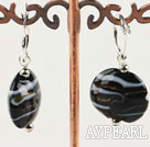 Wholesale Flat Round Black Colored Glaze Earings