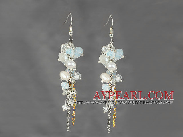 Dangle Style Whit Freshwater Pearl and Clear Crystal and Opal Crystal Earrings