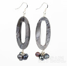 Wholesale black pearl and shell earrings