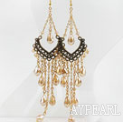 Wholesale Vintage Style Champagne Color Crystal Tassel Long Earrings