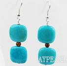 Wholesale Dangle Style Square Shape Blue Spider Stone and Tiger Eye Earrings