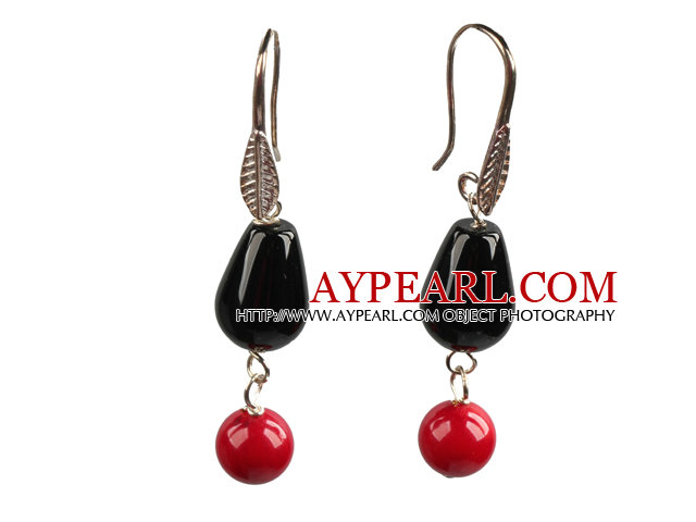 Simple Fashion Style Red Coral Drop Shape Black Agate Dangle Earrings