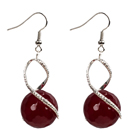 Fashion Design Faceted Deep Red Agate Beads Spiral Shape Dangle Earrings