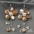 Wholesale Brown Coin Pearl and White Freshwater Pearl Flower Earrings