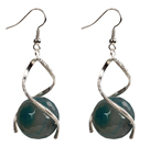 Fashion Design Faceted Blue Agate Beads Spiral Shape Dangle Earrings