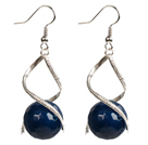 Fashion Design Faceted Deep Blue Agate Beads Spiral Shape Dangle Earrings