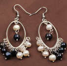 Nice 6-7mm Natural White And Black Freshwater Pearl Dangle Big Loop Earrings