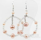 Wholesale Big Style New Design Pink Pearl and Crystal Earrings