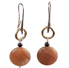 Trendy Simple Oblate Sunstone Dangle Earrings With Golden Loop