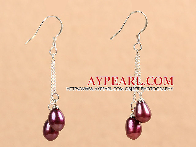Simple Long Style Natural Wine Red Freshwater Pearl Dangle Earrings