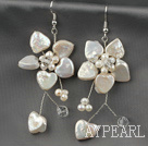 White Heart Shape Coin Pearl and White Freshwater Pearl Flower Earrings