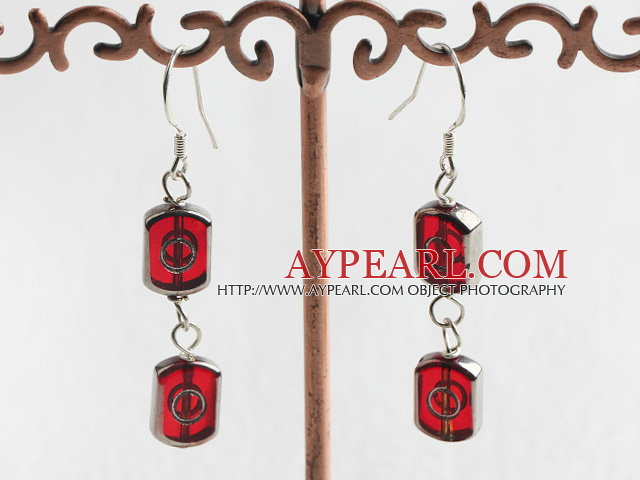 Lovely Red Glass Beads Dangle Earrings With Fish Hook
