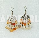 Vintage Style Agate With Bronze Charm Dangle Earrings