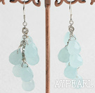 Lovely Blue Drop Shape Crystal Dangle Earrings With Fish Hook