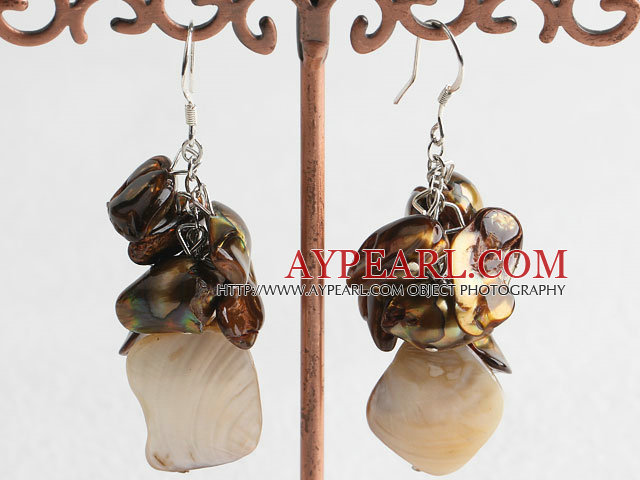 Nice Golden Brown Freshwater Pearl And White Shell Cluster Earrings With Fish Hook