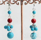 Beautiful Cluster Style Round Blue Turquoise And Bloodstone Dangle Earrings With Ear Hoops