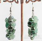 Elegant Green Freshwater And Aventurine Cluster Earrings With Fish Hook