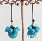 Fashion Round Blue Turquoise Cluster Dangle Earrings With Black Earwires