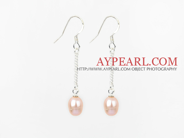 Classic Design Dangle Style Natural Pink Freshwater Pearl Bridal Earrings