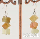 Classic Cubic Shape Three Color Jade Dangle Earrings With Fish Hook