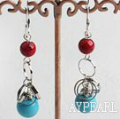 Wholesale turquoise and red bloodstone earrings