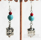 Fashion Burst Pattern Blue Turquoise Bloodstone Engraved Square Metal Charm Earrings