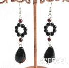 Elegant Black Agate Looped Teardrop Pendant And Garnet Dangle Earrings
