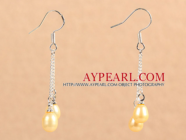 Simple Long Style Natural Champagne Color Freshwater Pearl Dangle Earrings