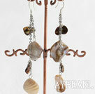 Wholesale Fashion Long Style Blister Pearl And White Shall Loop Link Dangle Earrings