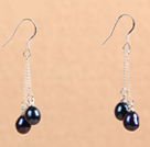 Simple Long Style Natural Black Freshwater Pearl Dangle Earrings